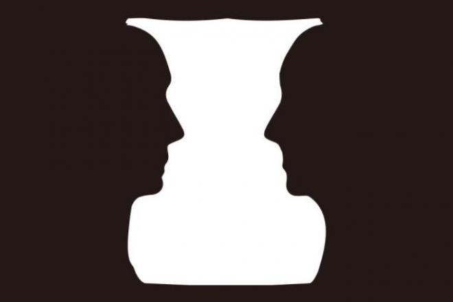 これが「ルビンの壺」。向き合った2人の顔にも大型の壺にも見える