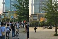 1年前の錦糸公園(左)と現在の錦糸公園