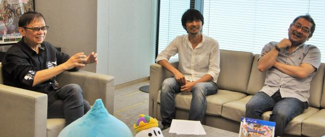 ドラクエの新作について語る堀井雄二さん(左)、プロデューサーの齊藤陽介さん(右)、ディレクターの内川毅さん(中央)=合田但撮影