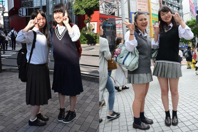 女子高生のスカート丈調査。左は大阪市、右は東京・渋谷