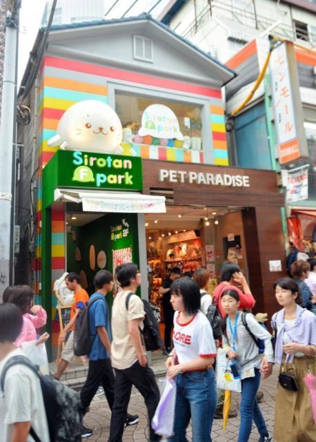しろたんの大きなオブジェが特徴の原宿竹下通りしろたんフレンズパーク=東京都渋谷区、辻隆徳撮影