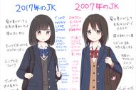 さといも屋さんが、今と10年前の女子高生の違いを描いたイラスト