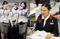ANA(左)とJALのCA。大半が女性だという=両社提供