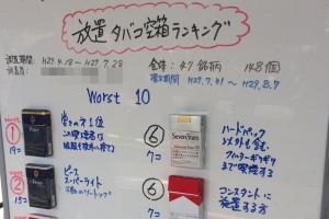 大学喫煙所に「放置タバコ空箱ランキング」清掃職員のコメントが秀逸