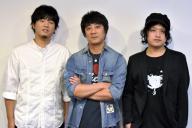 「福耳」の山崎まさよしさん(中央)と秦基博さん(左)、長澤知之さん(右)