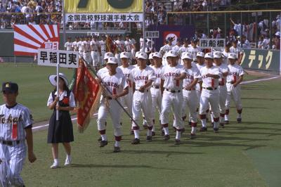 文武両道で国際色豊かな母校・早稲田実は、RAM RIDERさんが高等部3年だった年、夏の甲子園にも出場している=1996年8月8日、阪神甲子園球場