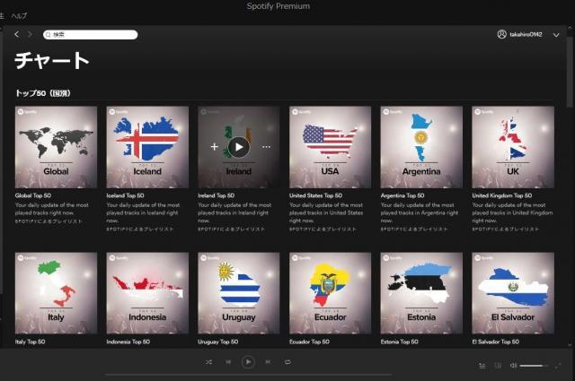 音楽ストリーミングサービスSpotifyの画面。国別再生回数のランキングも発表している=筆者撮影