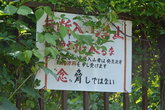 道端に「無断入山禁止」の文字が