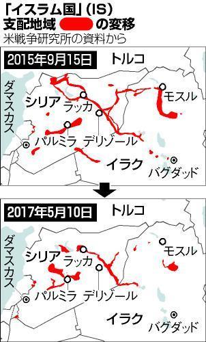 ISの支配地域は徐々に狭くなっている