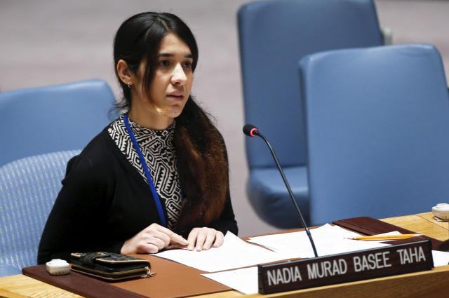 ニューヨークの国連本部でISによる被害を訴えるヤジディ教徒のナディア・ムラド・バセ・タハさん=2015年12月16日