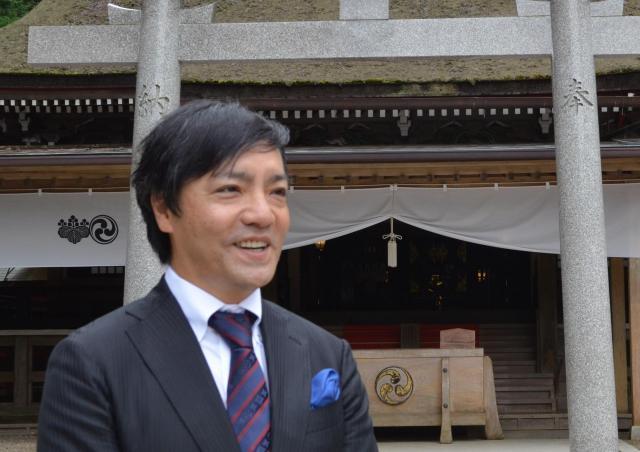 鹿島神宮カード事務局代表、レーサー鹿島さん=茨城県鹿嶋市、野口みな子撮影