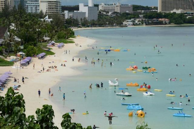 グアムのビーチ。2017年8月21日、宮地ゆう記者撮影