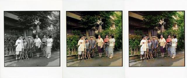 【左】ハービー山口さんが撮った元の作品【中央】人工知能によるカラー化した写真【右】人間による補正後の写真