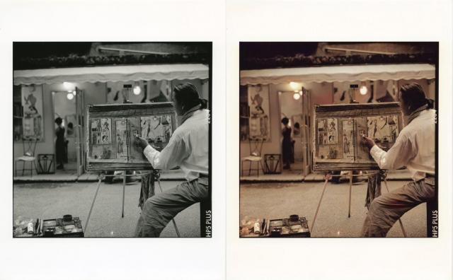 【左】ハービー山口さんが撮った元の作品【右】人工知能によるカラー化した写真(※これから,絵画をもとに補正を掛ける予定)