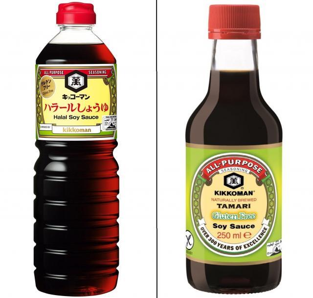 日本で売り出した「ハラールしょうゆ」と、ヨーロッパで売っているしょうゆ。いずれもアルコールは含まない