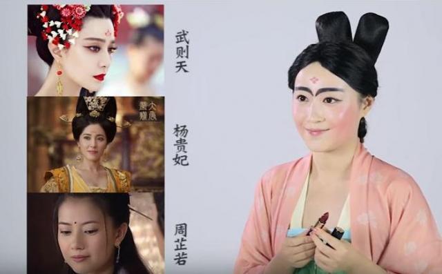 左:人気テレビドラマの登場人物のお化粧。右:夢詩さんのお化粧