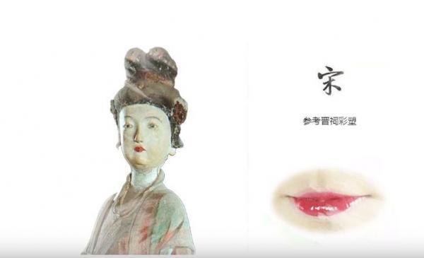 宋の時代の彫像に基づき、唇のお化粧を再現。