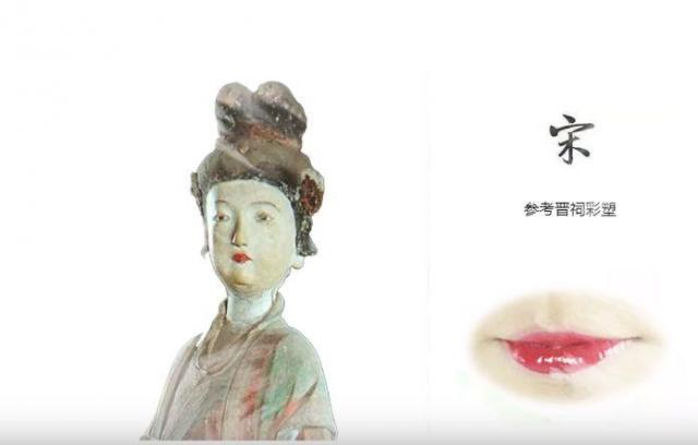 宋王朝の偶像に基づき、当時の唇のお化粧を再現