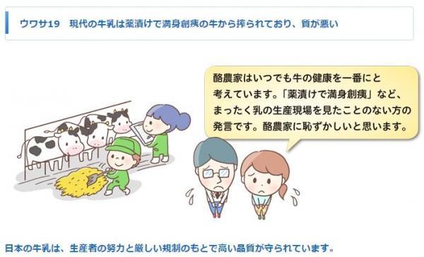 「日本の牛乳は、生産者の努力と厳しい規制のもとで高い品質が守られています」(左下の出典に詳しい解説があります)