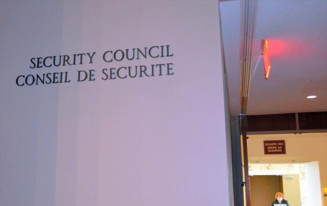 国際連合の本部ビルにある安全保障理事会の入り口