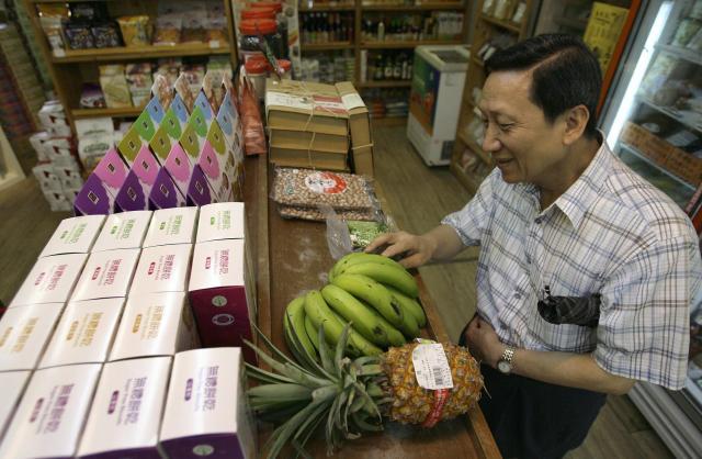 台湾のオーガニックバナナ=2009年7月、台北