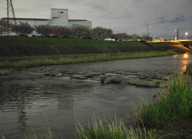 水難事故の現場。小中学生は川を横切るブロック上で遊んでいた=2012年4月、大阪府茨木市