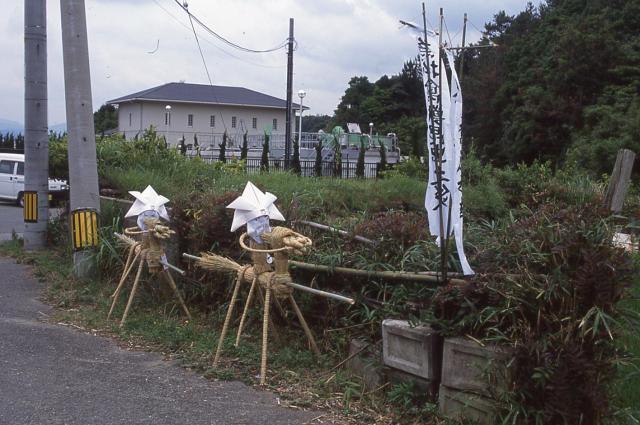「サバー送り」の「サバーサマ」「サネモリサマ」。人形の造りに違いはないという=2002年7月2日、山口県長門市・旧日置町の境