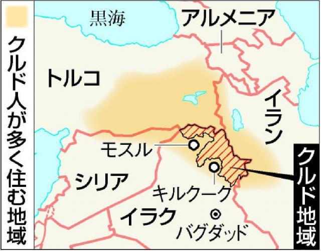 クルド人が多く住む地域は4カ国にまたがっている