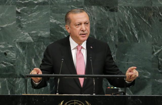 ニューヨークの国連本部で演説をするエルドアン大統領=2017年9月19日
