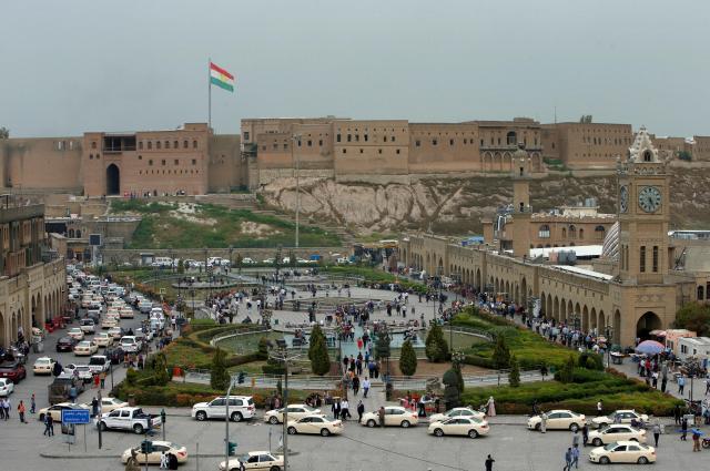 アルビルの城塞。紀元前の時代からあったとされ、ユネスコの世界遺産に登録されている=2016年11月2日
