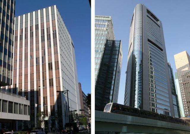 共同通信(右)と時事通信の本社ビル