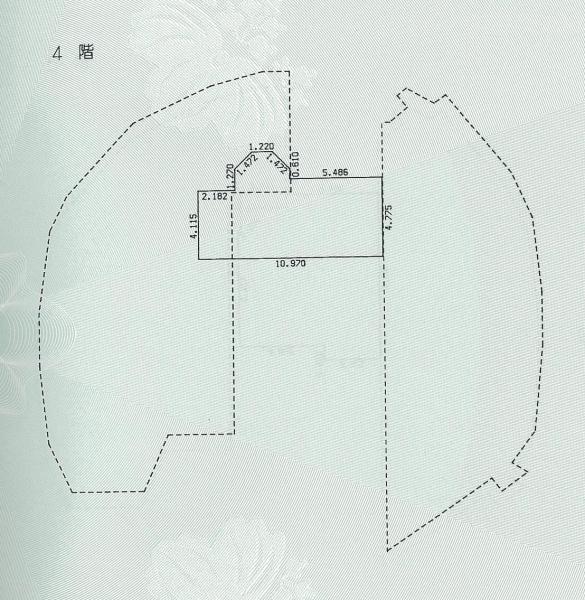 シンデレラ城の4階平面図。床面積は55平方メートルしかない。