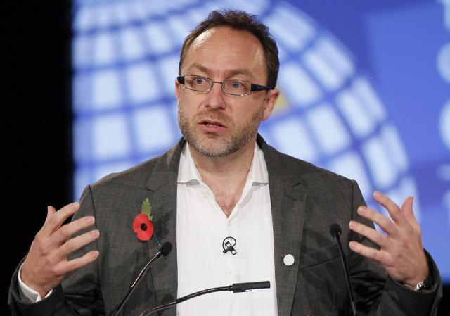 ウィキペディアの創立者のJimmy Wales氏=ロンドン、2011年11月
