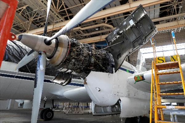 YS11の量産1号機のレシプロエンジン=7月21日、飯塚晋一撮影