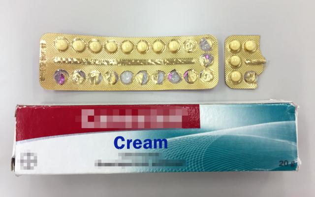 女子学生が事務所から渡されていたピルと軟膏。ともに国内未承認薬だ(画像の一部を加工しています)