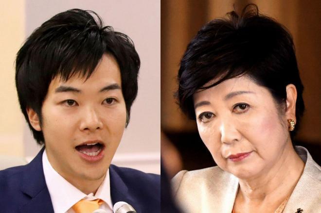 「都民ファーストの会」からの離党を発表した都議の音喜多駿氏(左)と、小池百合子・東京都知事