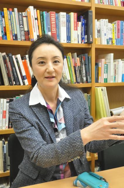 米国政治に詳しい中林美恵子・早大教授=2017年10月12日、軽部理人撮影