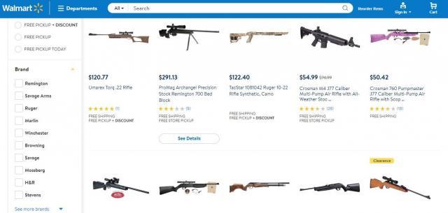 ウォルマートのホームページには、各種の銃器がそろっている。安い銃だと約50ドル(約5600円)で売っている