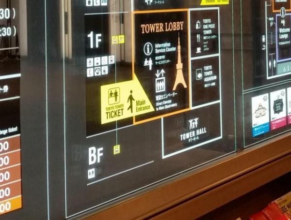 地下2階はどこに? 東京タワー館内の案内板にも、地下は1フロアしか書かれていない