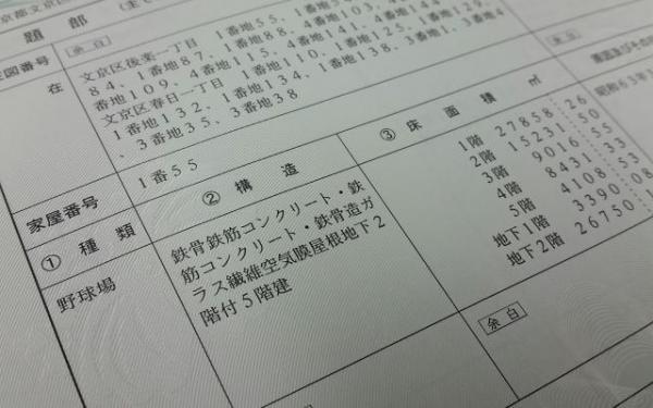 東京ドームの登記事項証明書も入手した。「ガラス繊維空気膜屋根」の文字がインパクト大だ