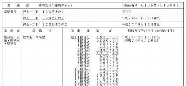 東京スカイツリーの登記事項証明書。地上29階建てだが、登記上は構造の関係で19階建てと書かれている