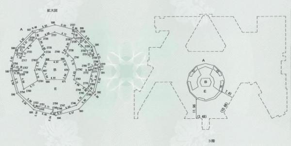 スカイツリーの3階平面図。断面は正12角形。中央から放射状に床が広がる構造だと分かる