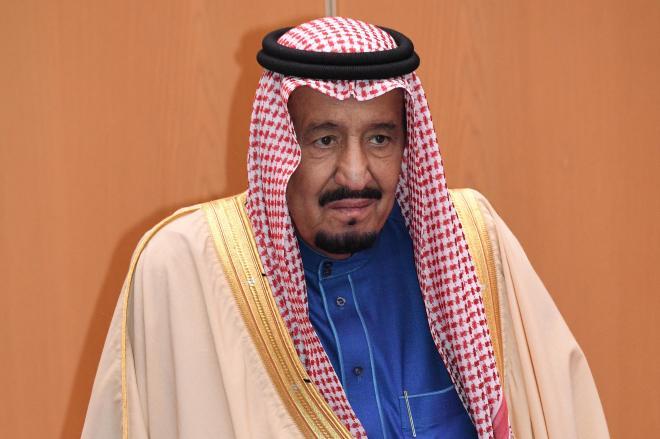 こちらがサウジアラビアで「たった一人の有権者」、サルマン国王。羽田空港の貴賓室で=2017年3月12日、恵原弘太郎撮影