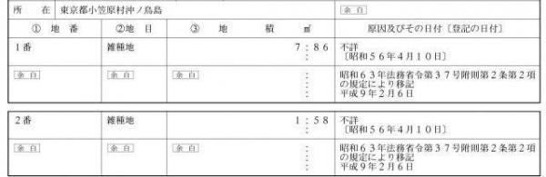 沖ノ鳥島の登記事項証明書。合計9.44平方メートルしかない。(二つの小島の証明書から、記者が抜粋)