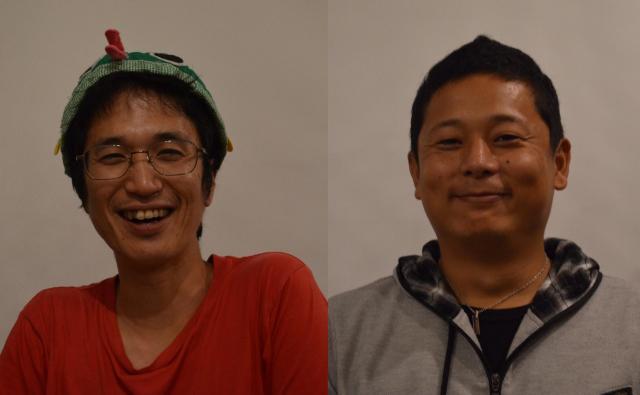 澤井悦郎さん(左)と相良恒太郎さん。澤井さんはマンボウをイメージしたお手製の帽子をかぶっていました