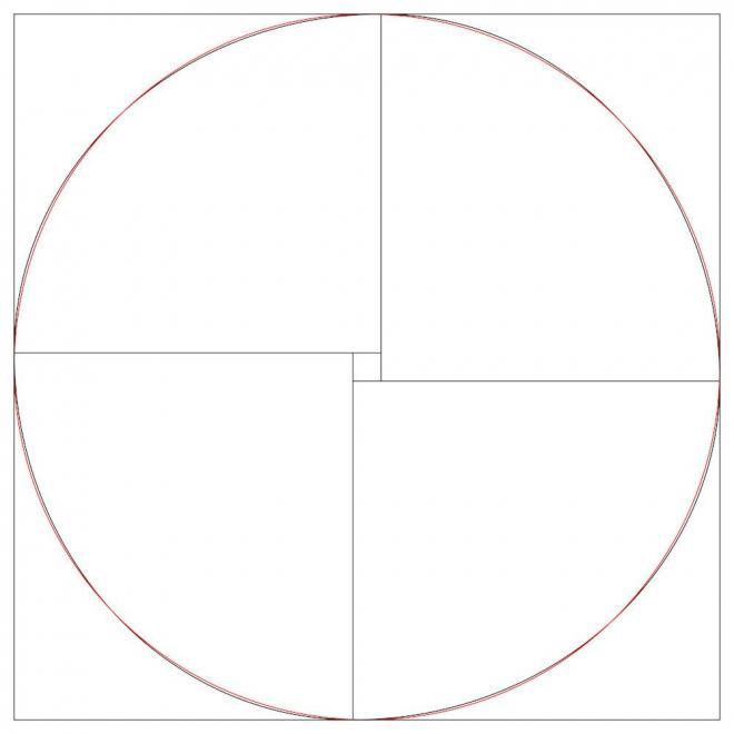 宮下芳明さんが作成した図。黒線がキムワイプ箱の輪郭と柄で、赤線が正円