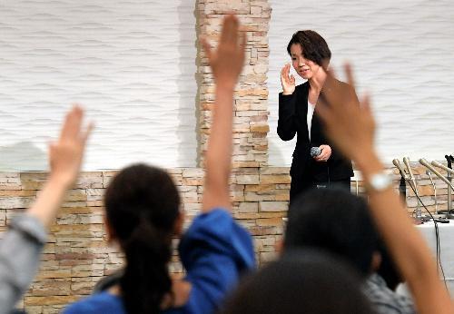 質問が相次いだ記者会見=2017年9月18日、埼玉県新座市、小玉重隆撮影