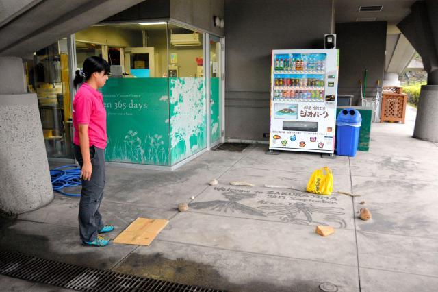 火山灰アートがあるのは、桜島ビジターセンターの入り口前=鹿児島市、島崎周撮影
