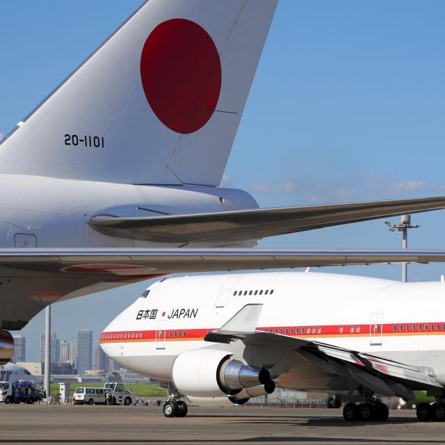 安倍晋三首相の訪米で、羽田空港を出発する政府専用機=2017年9月18日、遠藤啓生撮影