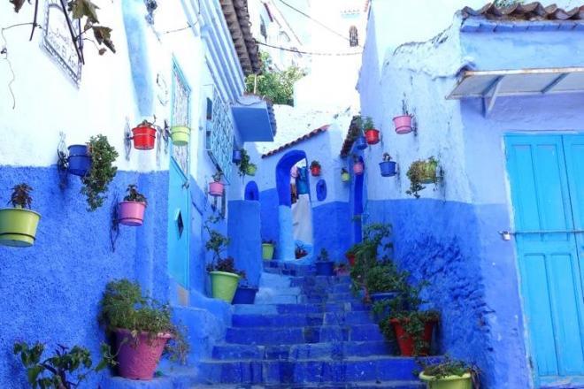 青い街「シャウエン」。涼しげな青色の壁にカラフルな植木鉢がよく映える=モロッコ、野口みな子撮影